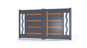 Portail aluminium design insert bois